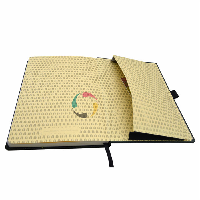 elastic band high quality hardcover notebook with pocket custom printing
